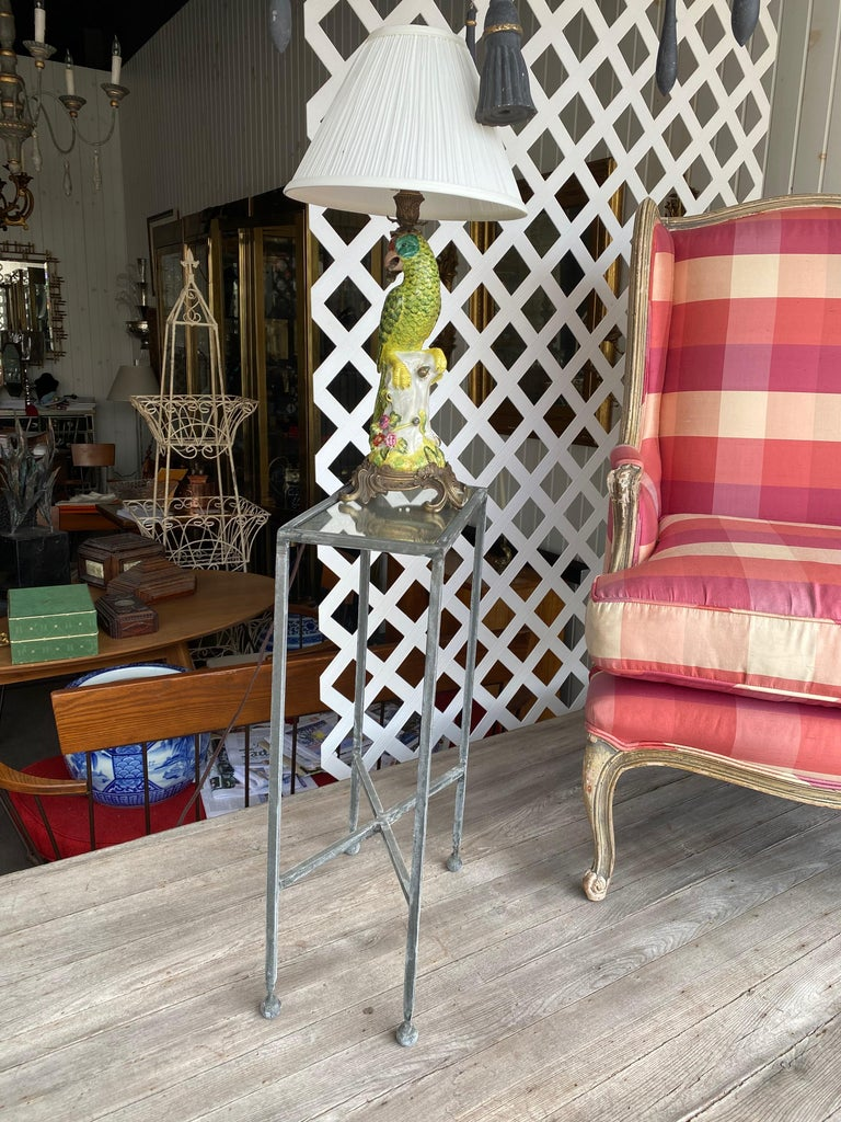 Two Iron and Antiqued Mirrored Drinks Table in the Style of Maison Baguès In Excellent Condition For Sale In Buchanan, MI