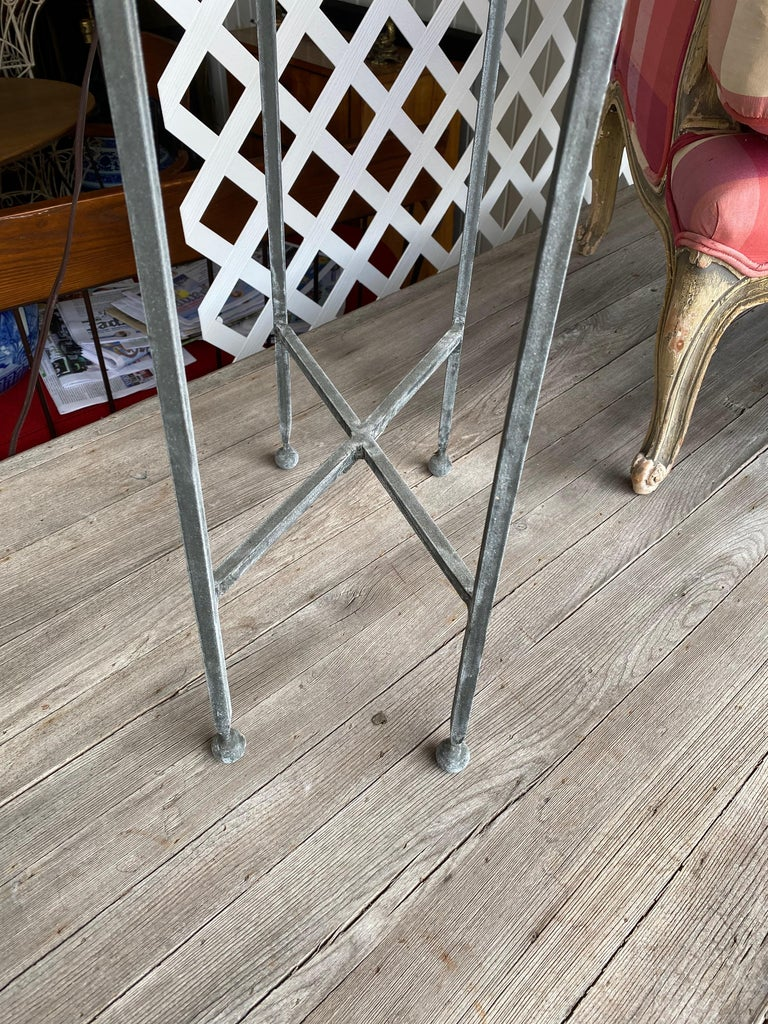 20th Century Two Iron and Antiqued Mirrored Drinks Table in the Style of Maison Baguès For Sale