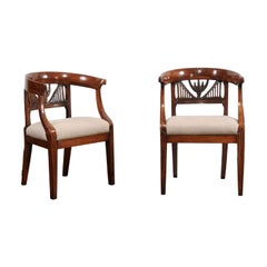 Two Italian 1800s Carved Walnut Upholstered Armchairs Sold Individually