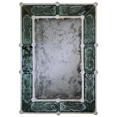 Two Italian 18th Century Style Antiqued and Etched Venetian /Murano Glass Mirror