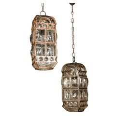 Two Italian Blown Glass Pendant Lights