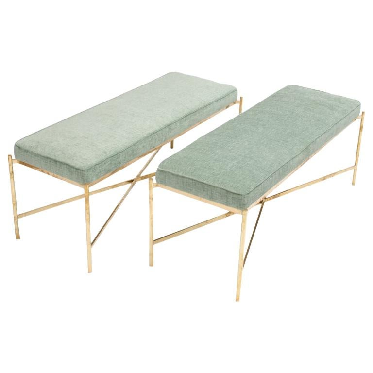 Two Italian Brass Benches with x Form Base, Priced Individually, Circa 1950