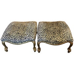 Two Italian Carved Giltwood Rope Ottomans