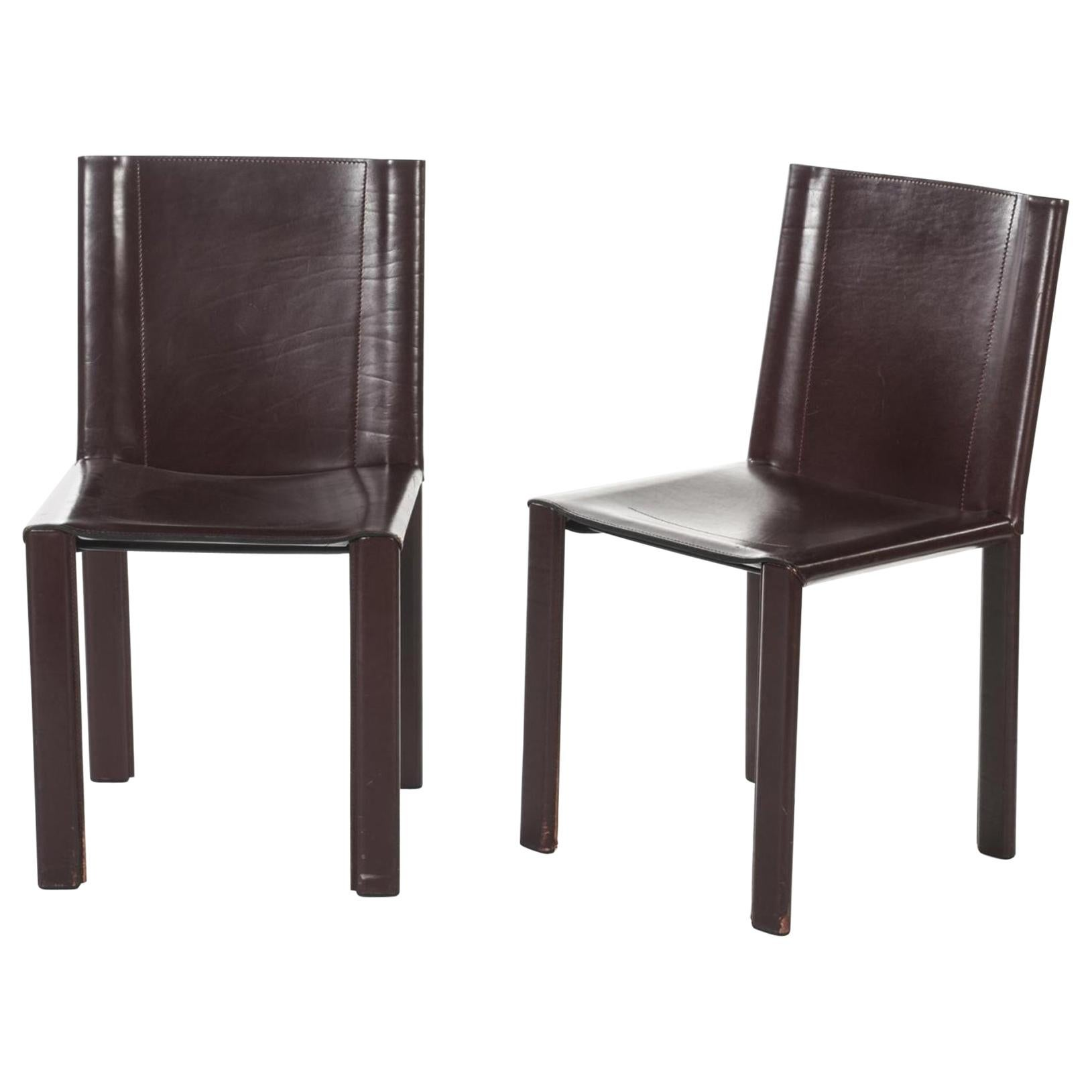 "Two Italian Chairs ""Coral"" by Matteo Grassi in Dark Red Leather"