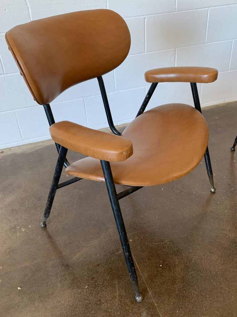 Two Italian Faux Leather Chairs by Gastone Rinaldi for RIMA 1960s  For Sale 9