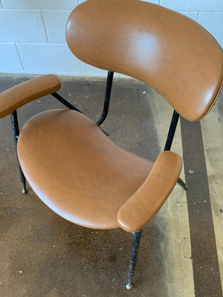 Two Italian Faux Leather Chairs by Gastone Rinaldi for RIMA 1960s  For Sale 12