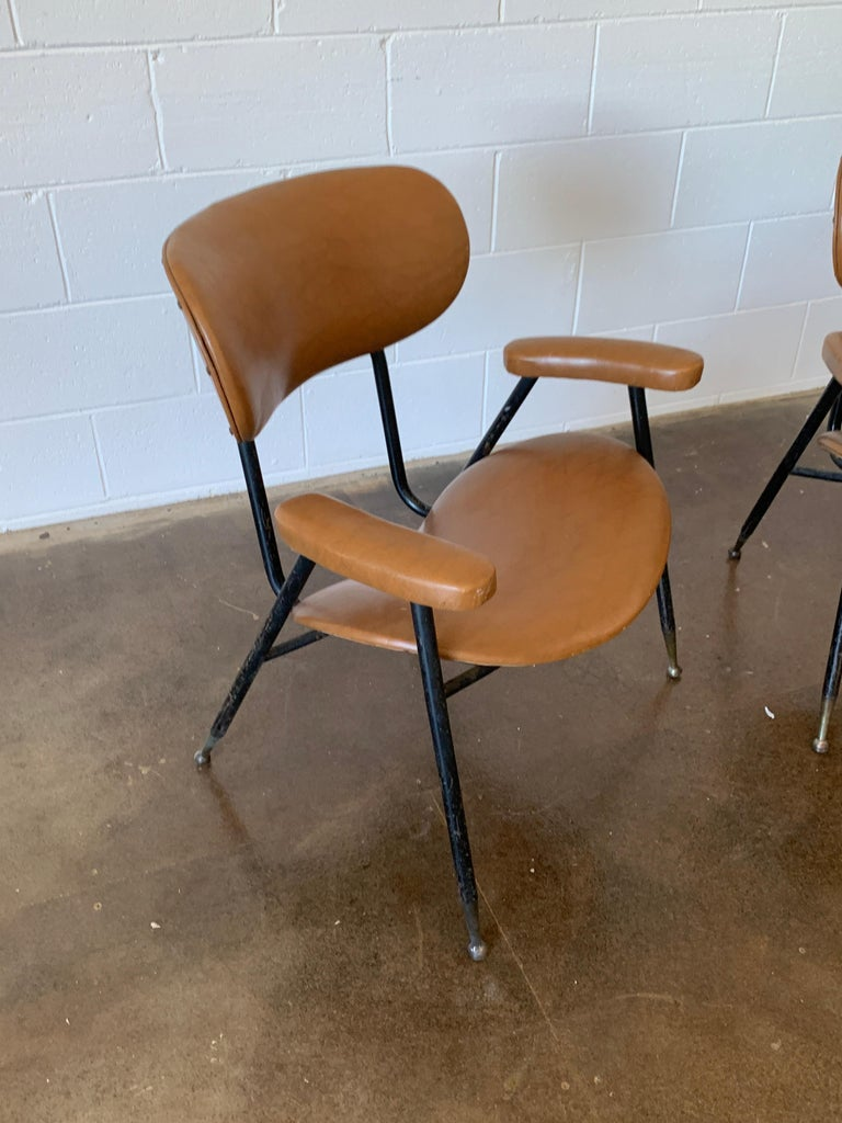 Mid-Century Modern Two Italian Faux Leather Chairs by Gastone Rinaldi for RIMA 1960s  For Sale