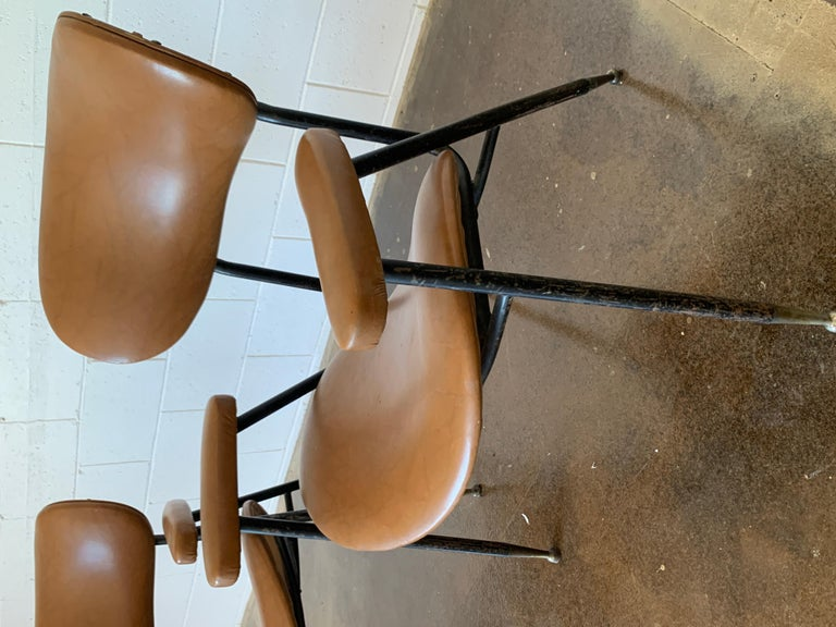 Metal Two Italian Faux Leather Chairs by Gastone Rinaldi for RIMA 1960s  For Sale