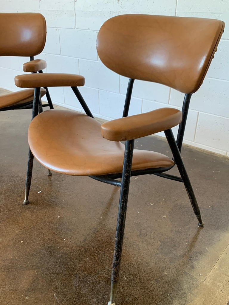 Two Italian Faux Leather Chairs by Gastone Rinaldi for RIMA 1960s  For Sale 1