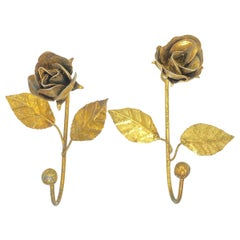 Two Italian Florentine Gold Gilt Metal Rose Coat Hook Toleware Tole, 1950s