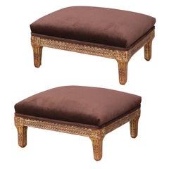 Two Italian Giltwood Footstools
