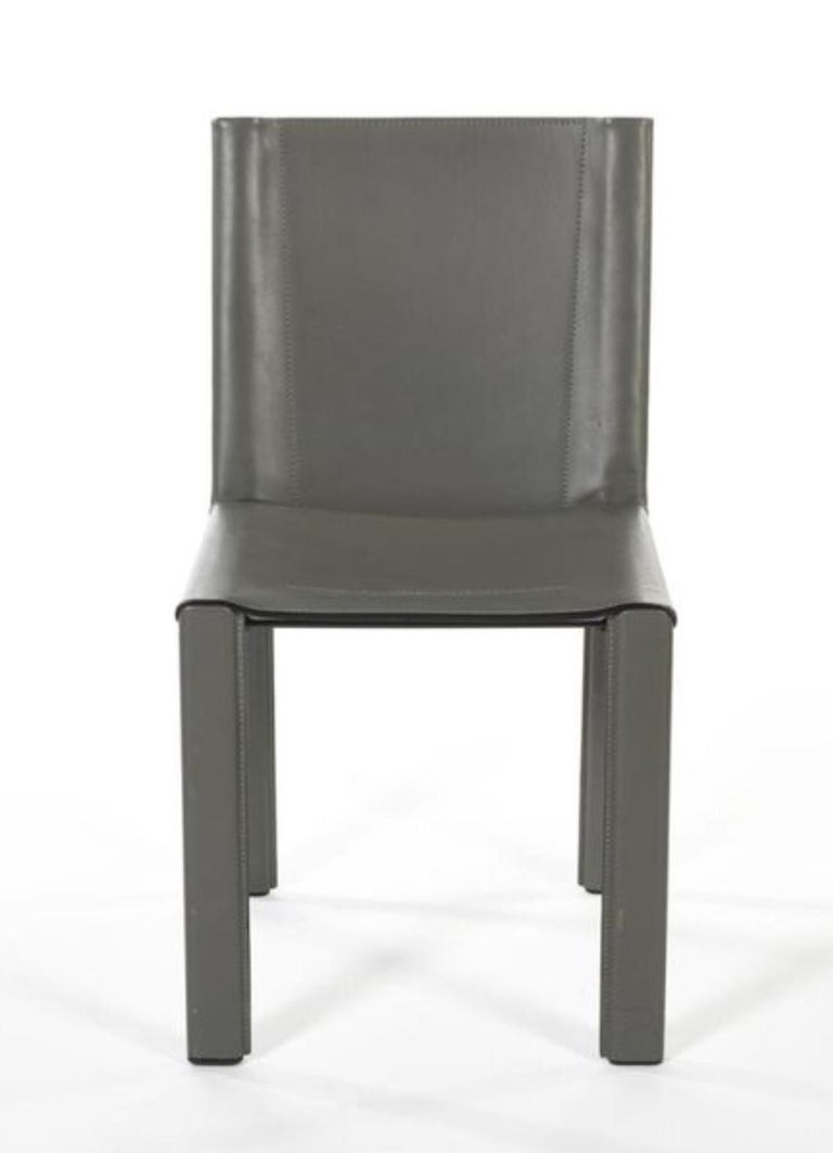Mid-Century Modern Two Italian Grey Leather Chairs