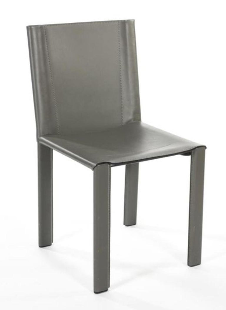 Two Italian Grey Leather Chairs