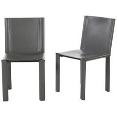"Two Italian Grey Leather Chairs ""Coral"" by Matteo Grassi"