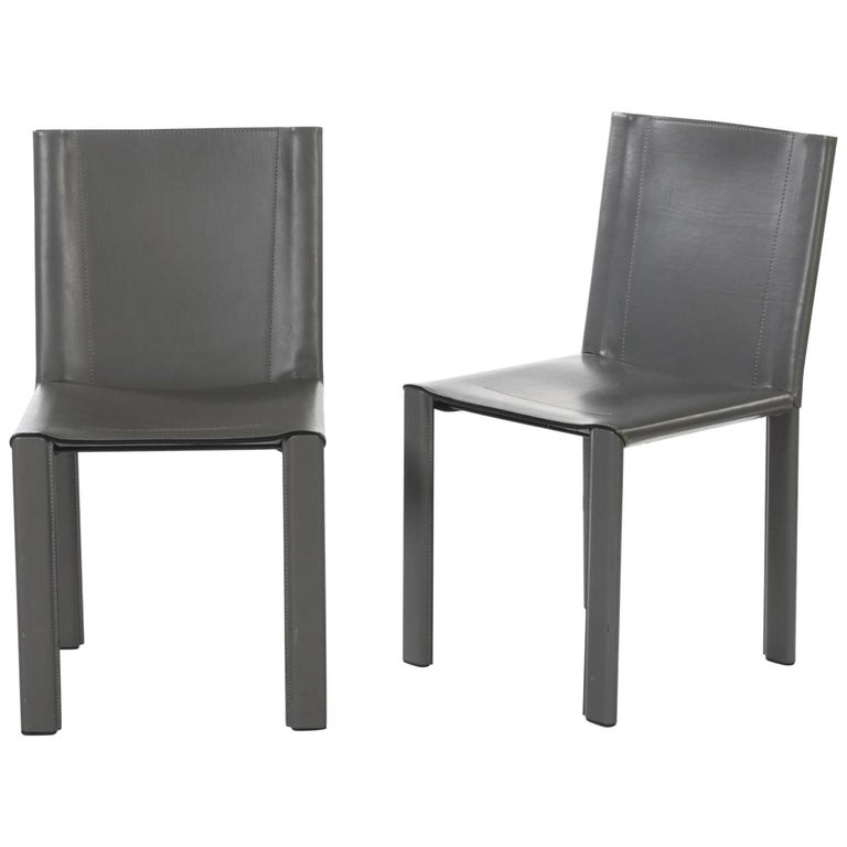 """Two Italian Grey Leather Chairs """"Coral"""" by Matteo Grassi For Sale"""