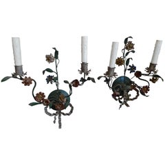 Two Italian Late 18th Century Painted Toile Floral Sconces