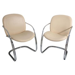 Two Italian Leather and Chrome Chairs, by Gastone Rinaldi for RIMA, circa 1970s