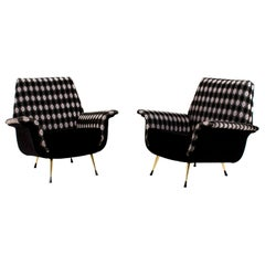 Two Italian Mid-Century Modern Lounge Chairs, 1960s