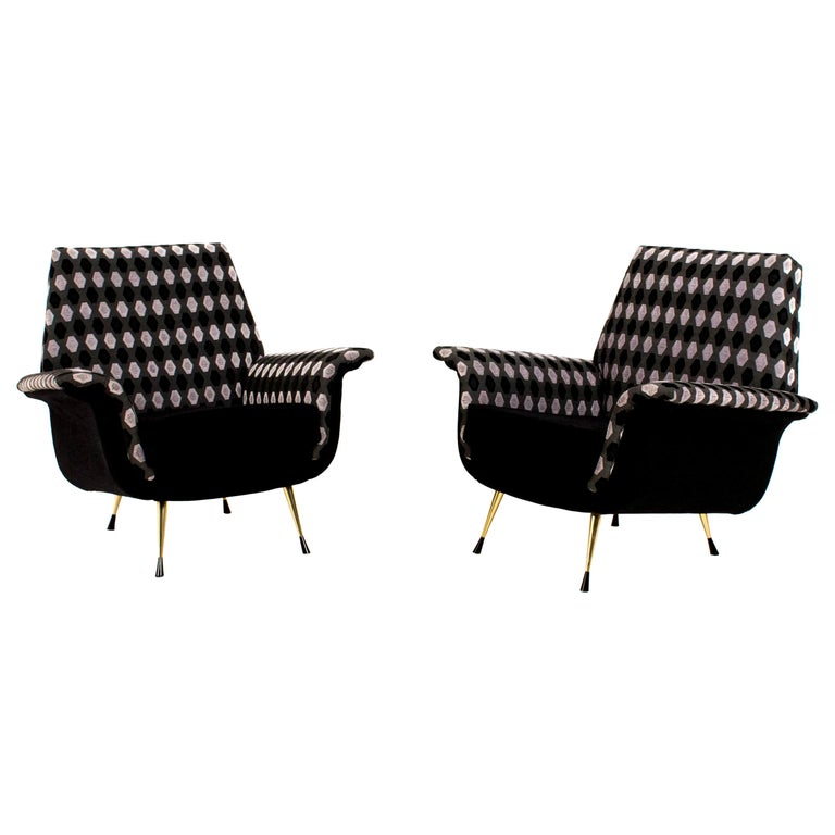 Two Italian Mid-Century Modern Lounge Chairs, 1960s For Sale