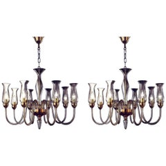 Two Italian Modern Neoclassical Amber Murano Glass Chandeliers with Glass Shades