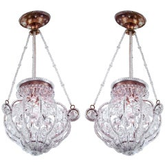 Two Italian Modern Neoclassical Crystal Pendants or Chandeliers
