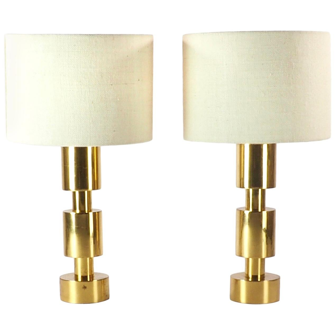 Two Italian Modernist Gilt Cylindrical Metal Table Lamps