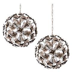Two Italian Sputnik Pendant Lights Chandeliers, Chrome Smoked Glass, 1970