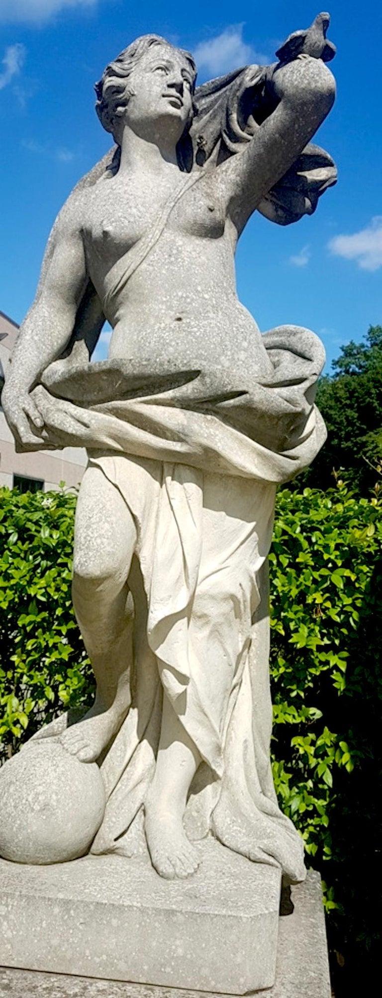 Two Italian Stone Garden Sculptures of Apollo and Roman Goddess For Sale 3