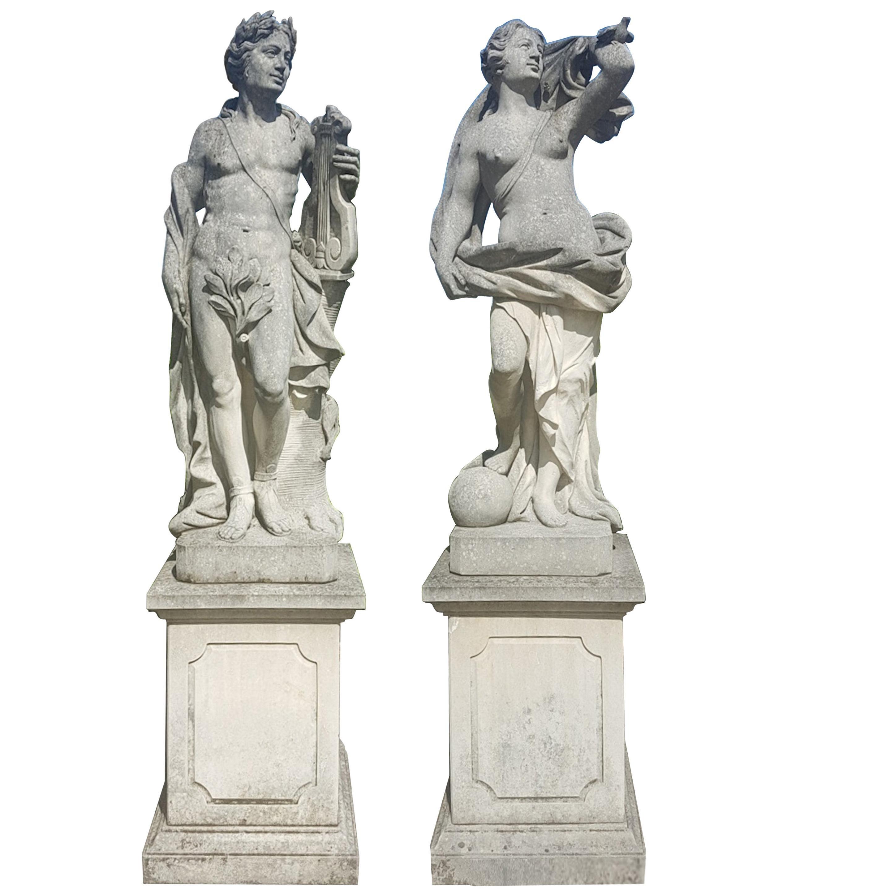 Two Italian Stone Garden Sculptures of Apollo and Roman Goddess