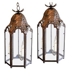 Two Italian Style Iron Lanterns