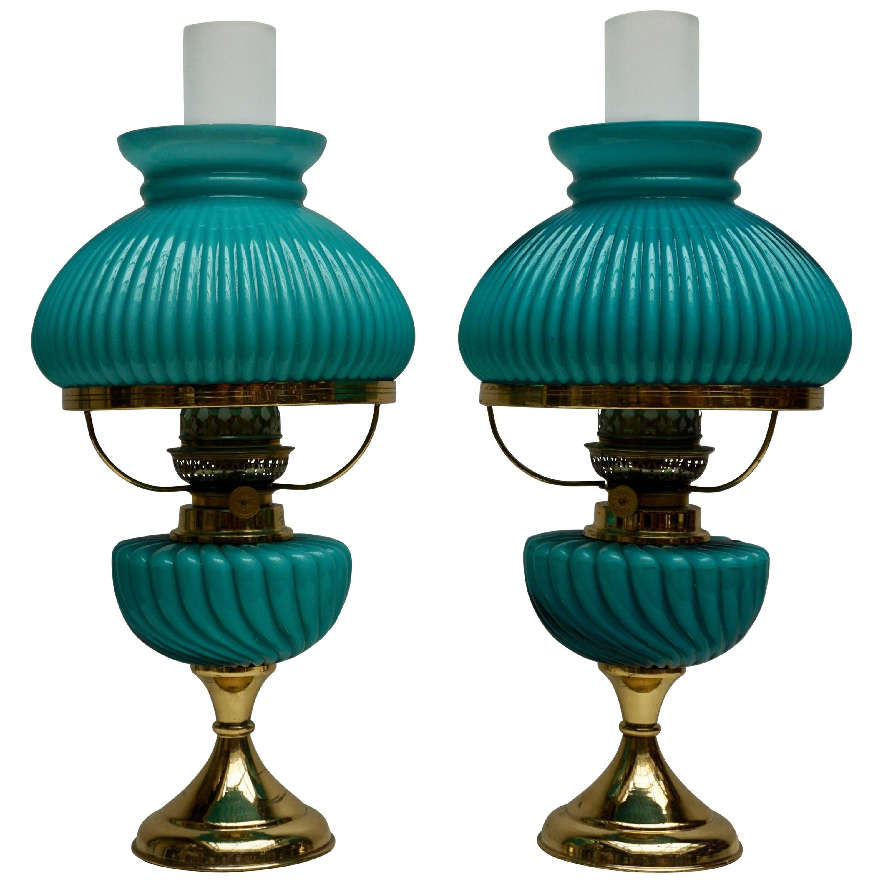 Two Italian Table Lamps in Glass and Brass