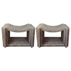 Two Italian White Carrara Marble Benches or Stools by Massimo Mangiardi