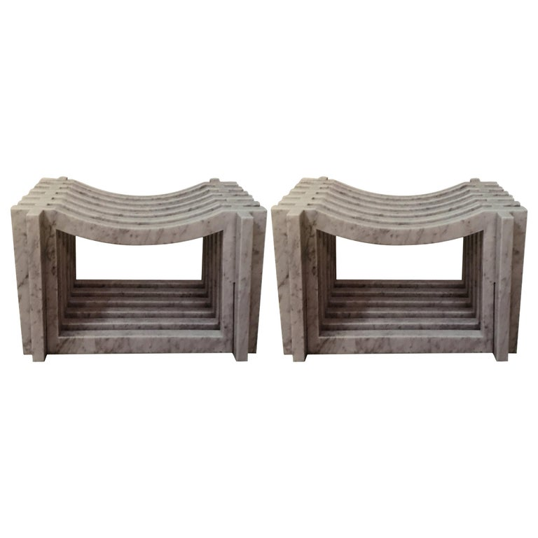Two Italian White Carrara Marble Benches or Stools by Massimo Mangiardi For Sale