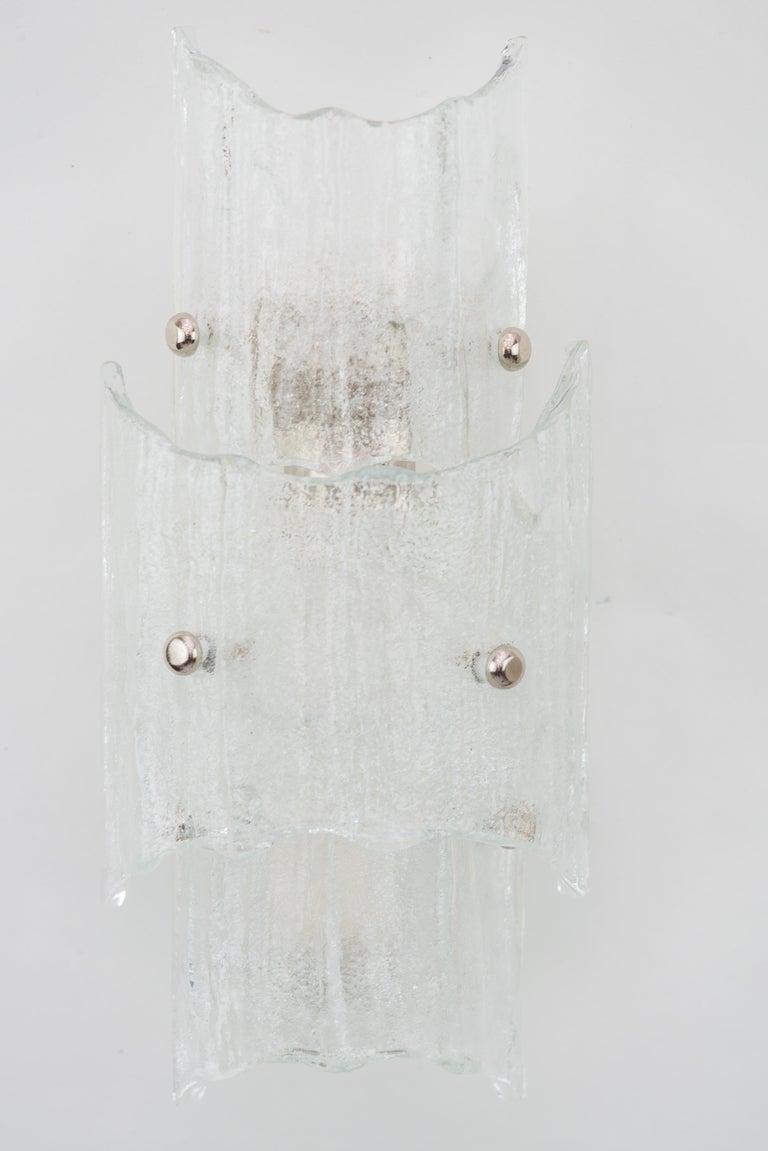 Mid-Century Modern Two J. T Kalmar Ice Glass Sconces, circa 1950s For Sale