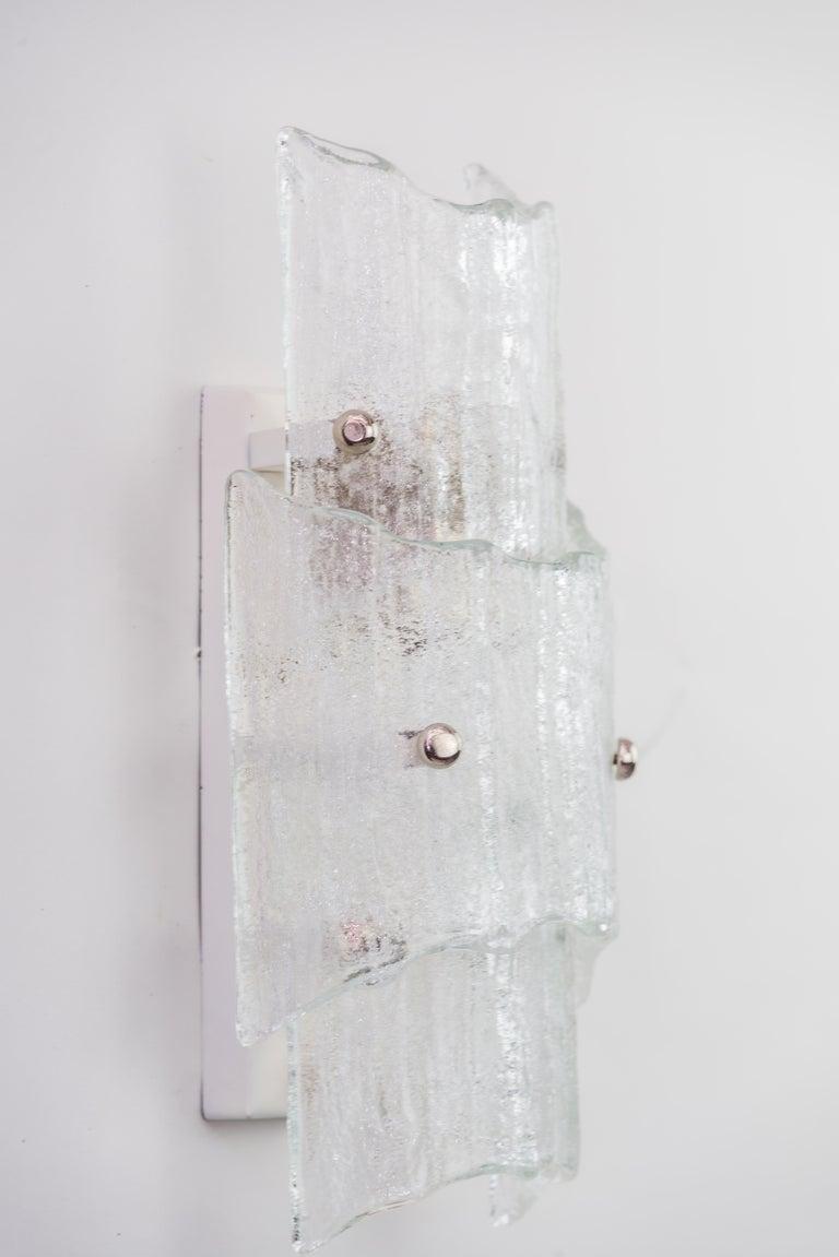 Austrian Two J. T Kalmar Ice Glass Sconces, circa 1950s For Sale