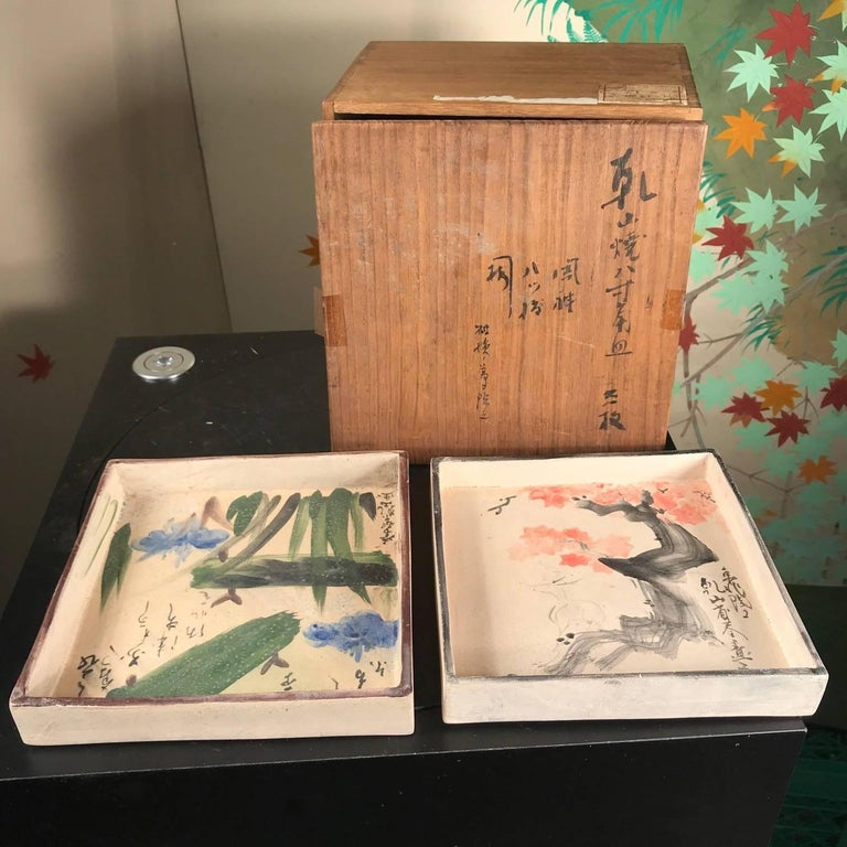 Taisho Two Japanese Antique Hand-Painted