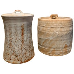 Two Japanese Hagi Ceramic Pots