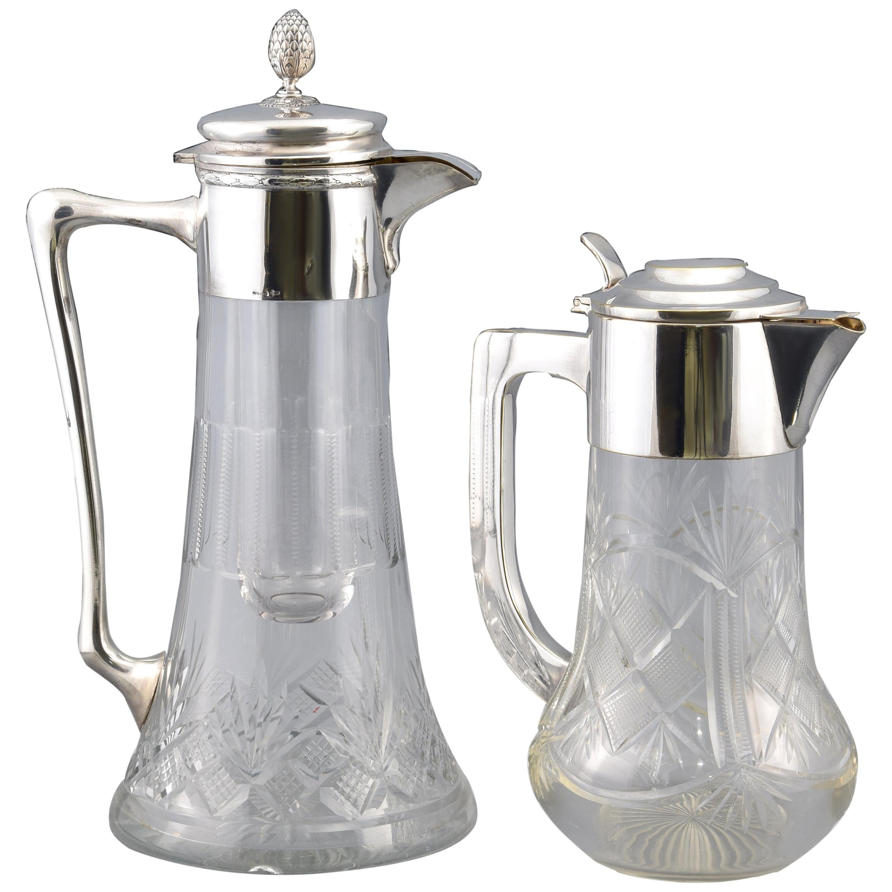 Two Jars, Silver and Glass, 20th Century