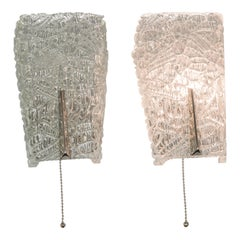Two J.T Kalmar Sconces with Textured Glass and Nickel Parts, circa 1950s