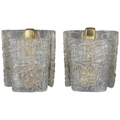 Two J.T.Kalmar Wall Lamps circa 1950s with Texured Glass