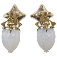 Two Jugendstil Wall Lamps circa 1908 with Original Opaline Glass Shades