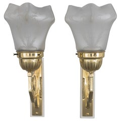 Two Jugendstil Wall Lamps Vienna, circa 1908