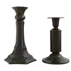 Two Just Andersen Candlesticks in Disko Metal, 1930s-1940s