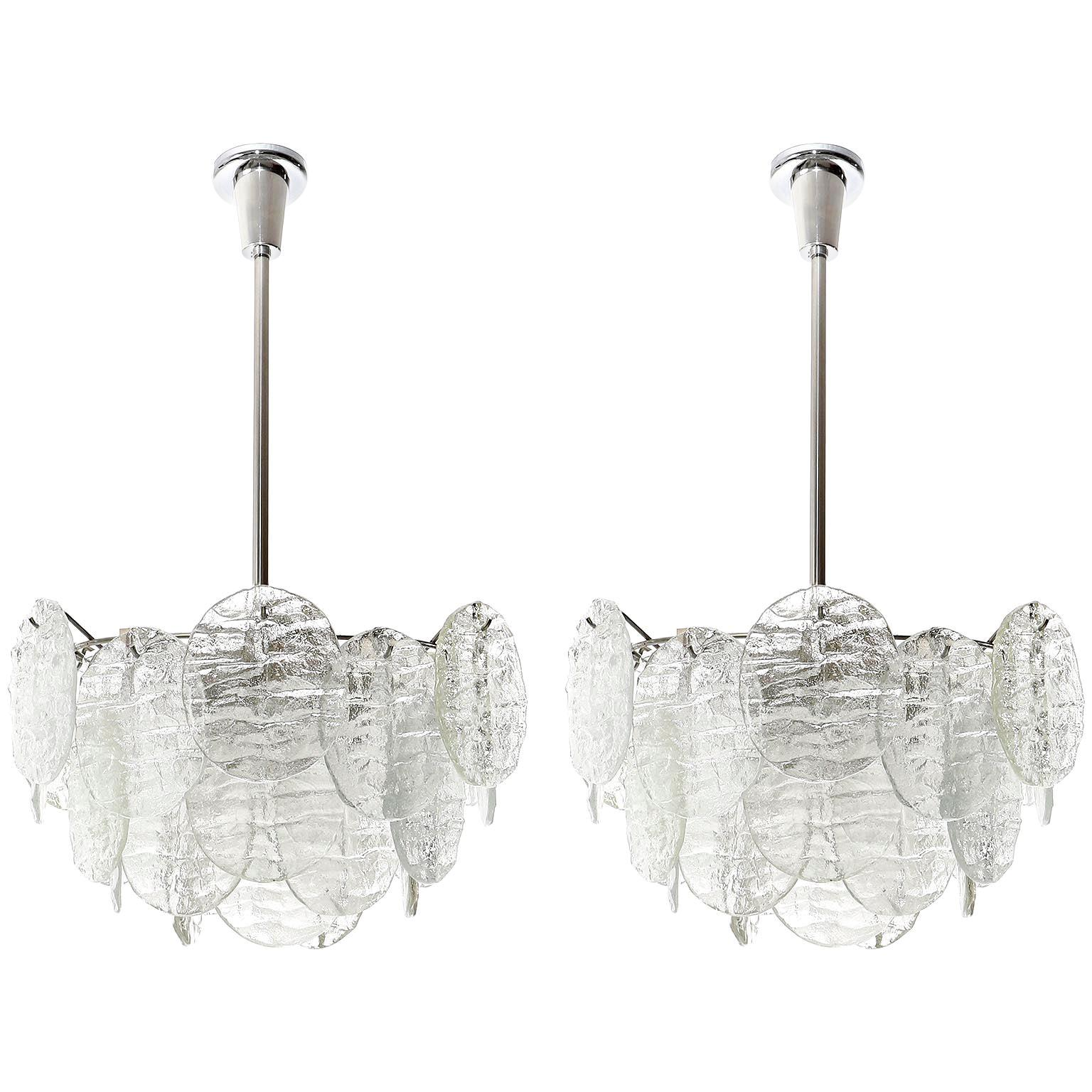 Two Kalmar 'Blatt' Pendant Lights Chandeliers, Textured Glass Nickel, 1970s