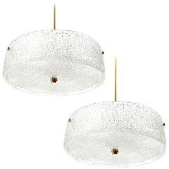 Two Kalmar Chandeliers Light Fixtures, Textured Glass and Brass, 1960