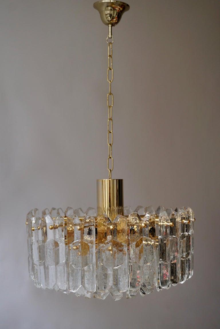 Austrian Two Kalmar Chandeliers Palazzo Gilt Brass and Glass Austria, 1970s For Sale