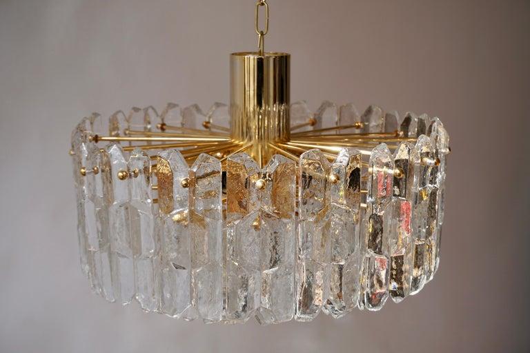 Two Kalmar Chandeliers Palazzo Gilt Brass and Glass Austria, 1970s For Sale 1