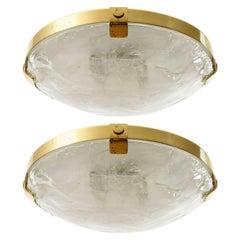 Two Kalmar Flush Mount Lights, Brass Murano Glass, 1970s
