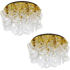 Two Kalmar Flush Mount Lights Catena, Brass Glass, 1970