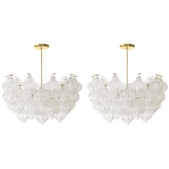 Two Kalmar 'Tulipan' Chandeliers Pendant Lights, Glass Brass, 1970